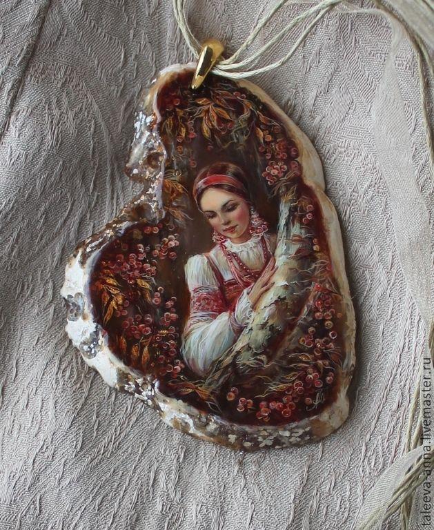 """Купить Кулон """"Рябиновый вечер"""" - коричневый, камень натуральный, девушка, женщина, кулон, подарок, миниатюра"""