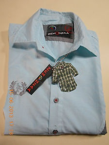 New Mens Luxury Stylish ZEMONZAA Branded Light Blue Colour Slim Fit Casual Shirt