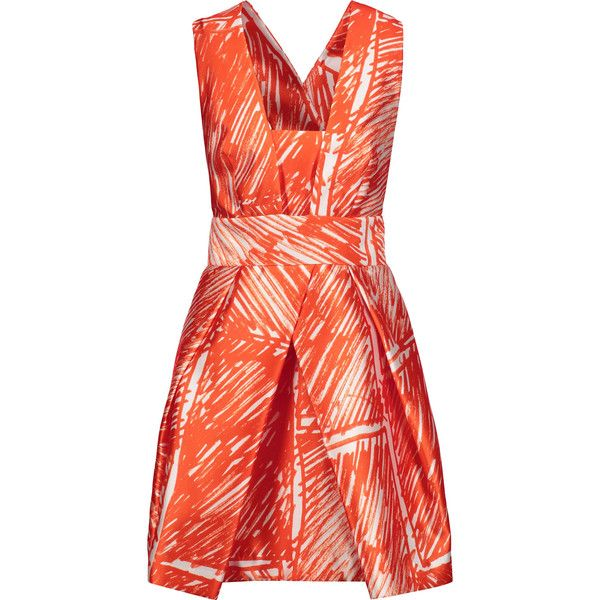 Milly - Elisa Pleated Printed Satin-twill Mini Dress ($238) ❤ liked on Polyvore featuring dresses, bright orange, vintage style dresses, bright orange dress, red pleated dress, red satin dress and pleated dresses