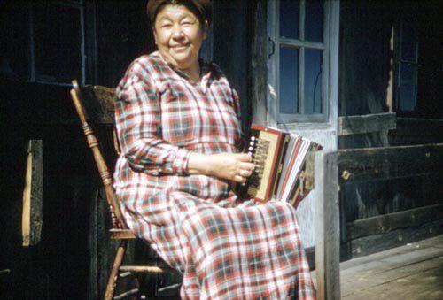 'Jessie Mann playing' ~ (Oji-Cree, Anishinaabe) ~ Mattagami, Ontario 1957