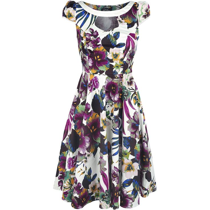 "Abito ""White Purple Pansies Floral Swing Dress"" del brand #H&RLondon."