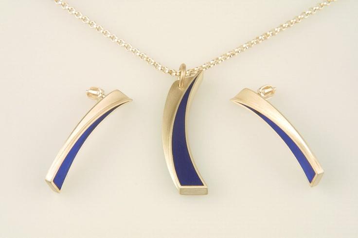 náhrdelník a náušnice - stříbro, akryl