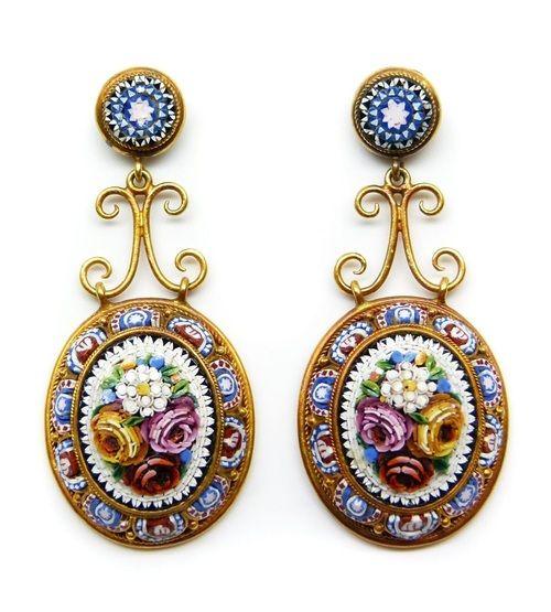 Italian gold micro-mosaic pendant earrings