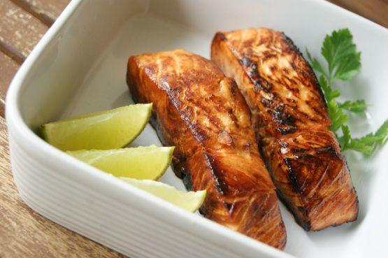 Sticky  Salmon with Mint Rice