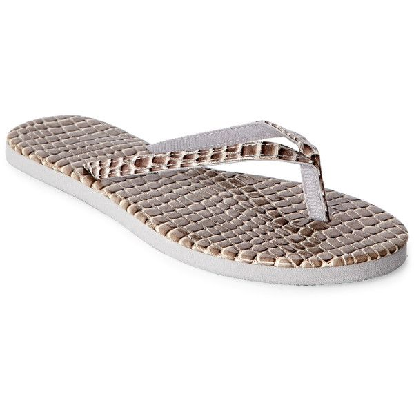 Capelli New York Faux Crocodile Flip Flops ($6.99) ❤ liked on Polyvore featuring shoes, sandals, flip flops, metallic, croco shoes, synthetic shoes, metallic flip flops, metallic shoes and crocodile print shoes
