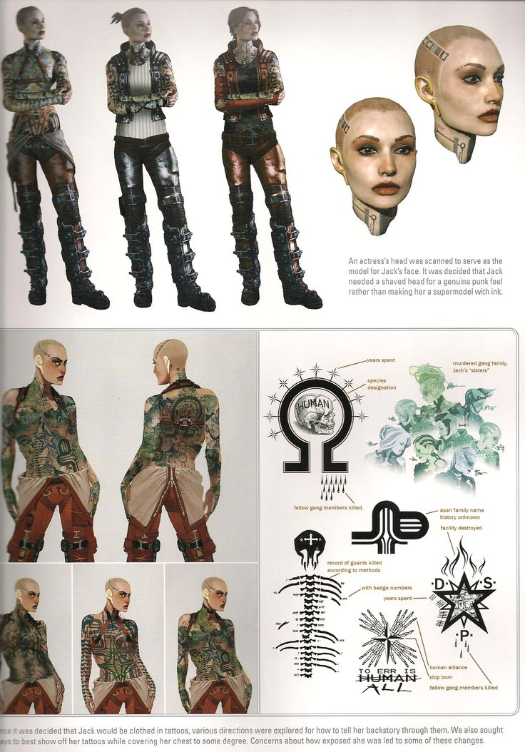 A closer look at Jack's tattoos from the Mass Effect Universe art book.