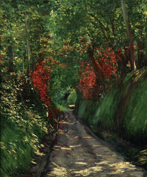""" Forest Path - Gustave Caillebotte Impressionism "" Complementary colors (green and red)"