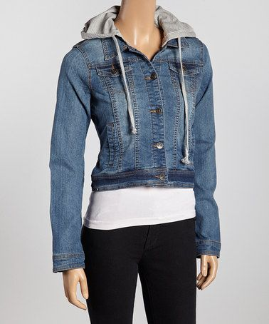 Look what I found on #zulily! Medium Blue Hooded Jean Jacket by Hadari #zulilyfinds