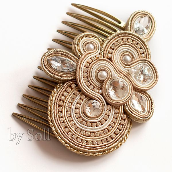 Golden Wedding  hair comb
