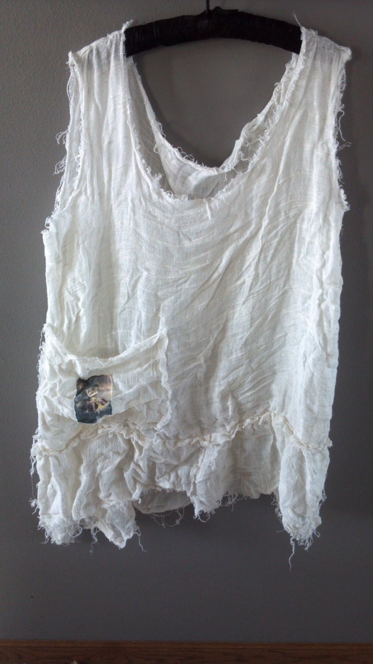 alabaster and lace boho prairie linen unfinished ruffled edge tank top. by Tina Rie  $42.00, via Etsy.