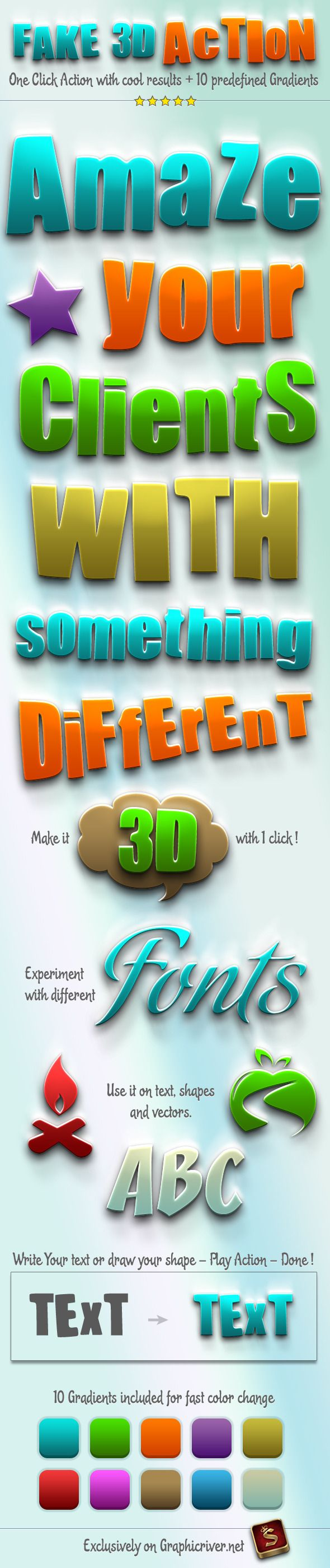 Fake 3D Photoshop Action - Actions Photoshop