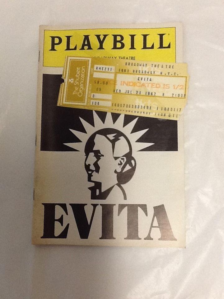 Evita 1982 Playbill Loni Ackerman Anthony Crivello David Cryer Nancy Opel Hunt