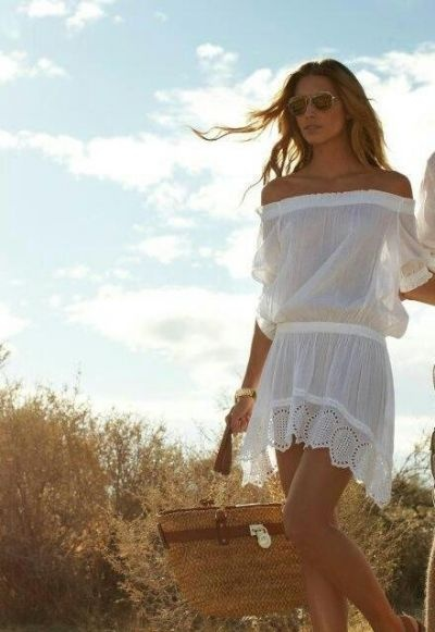 White summer dress. This would be girgous as swimsuit cover or with something discreet under it.