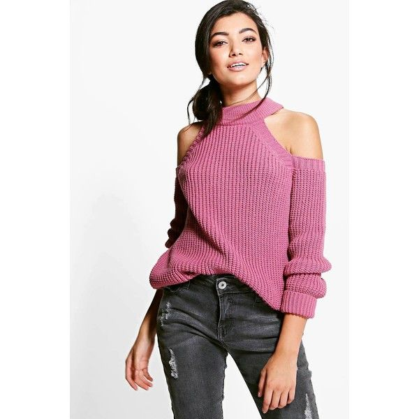 Boohoo Jade Cold Shoulder Fisherman Jumper ($30) ❤ liked on Polyvore featuring tops, sweaters, antique rose, sequined sweaters, cold shoulder turtleneck sweater, cold shoulder tops, cold shoulder sweater and white sequin top