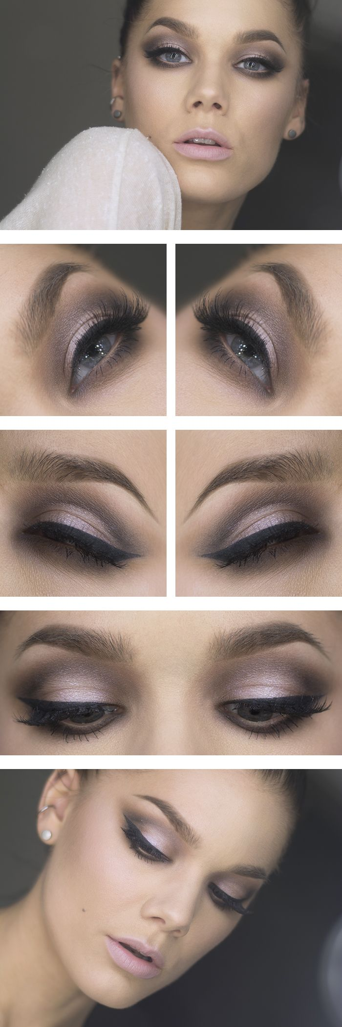 """Today's Look : """"H103"""" -Linda Hallberg ( this is such a romantic look, soft pinks and grays make up this smoky eye, a thick eyeliner and baby pink lips) 01/30/14"""