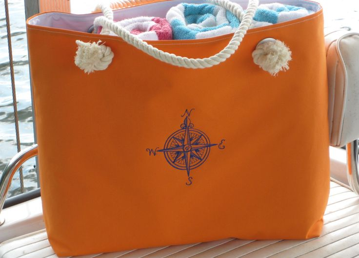 Nautical Waterproof Orange Boat Bag Monogrammed Compass Beach Tote Colorful Extra Large Vacation Tote Summer! Cruise Resort - pinned by pin4etsy.com