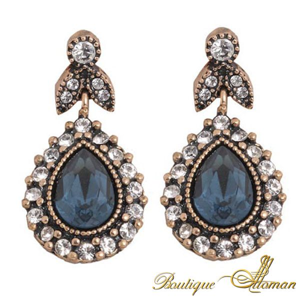 Dark blue earring with swarovski and blue stone.  [share]