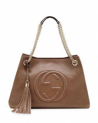 8556f8e0ad29 Soho Leather Medium Chain-Strap Tote, Tan by Gucci at Bergdorf Goodman. #