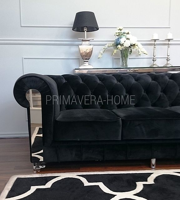 Sofa AVIATOR 2 lub 3 osobowa kanapa chesterfield stal welur pikowana szara czarna