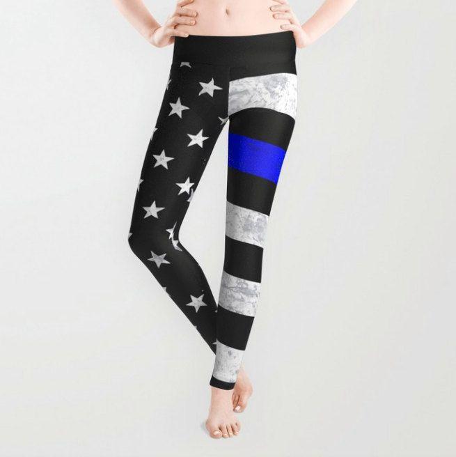 Thin Blue Line Leggings, Capri Leggings by ForgetSundayDrives on Etsy https://www.etsy.com/listing/243168677/thin-blue-line-leggings-capri-leggings