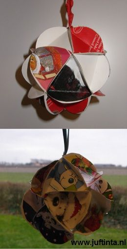 Make a christmas ornament out of old christmas cards, with template for cutting cards - Kerstbal van oude kerstkaarten met mal
