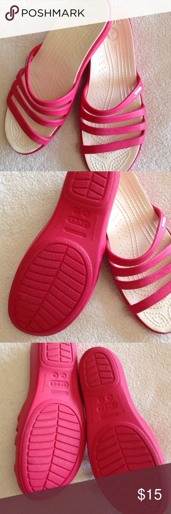 Woman's size 10 CROCS Womans size 10 pink Crocs - ordered online at Crocs store just wore around house to try out. In great condition.  Not flats Crocs Shoes Sandals