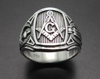 Masonic Ring in Sterling Zilver  stijl 021B van door ProLineDesigns
