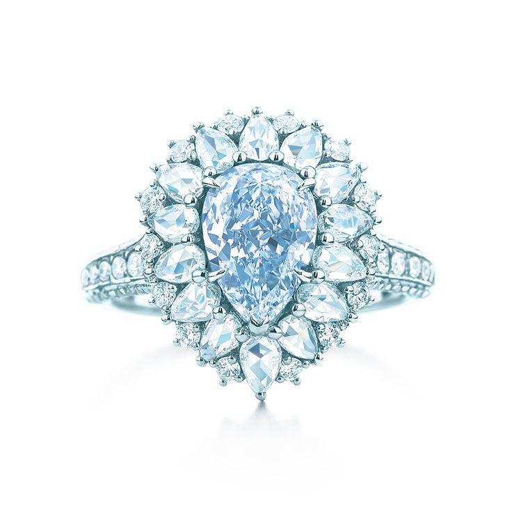 Ring in platinum with a 1.45-carat Fancy Greenish Blue diamond and white diamonds. #TiffanyPinterest #TiffanyBlueBook