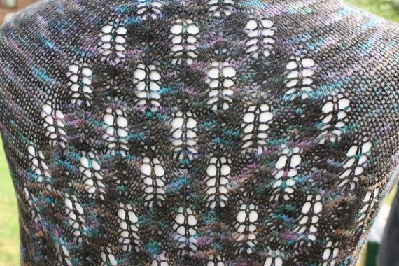 Merino / Silk Hand Knit Lace Shawl by WrapsodyInLace on Etsy, £95.00
