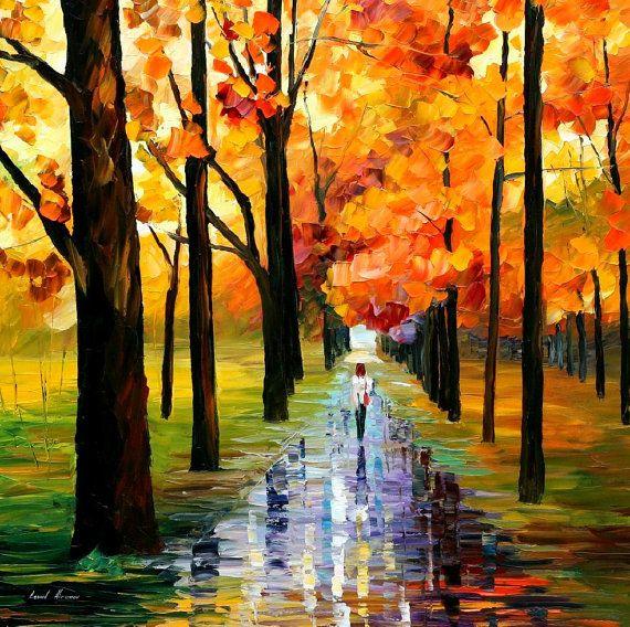 Yellow Rain — PALETTE KNIFE Oil Painting On Canvas By Leonid Afremov #AfremovArtStudio #afremov #art #painting #fineart