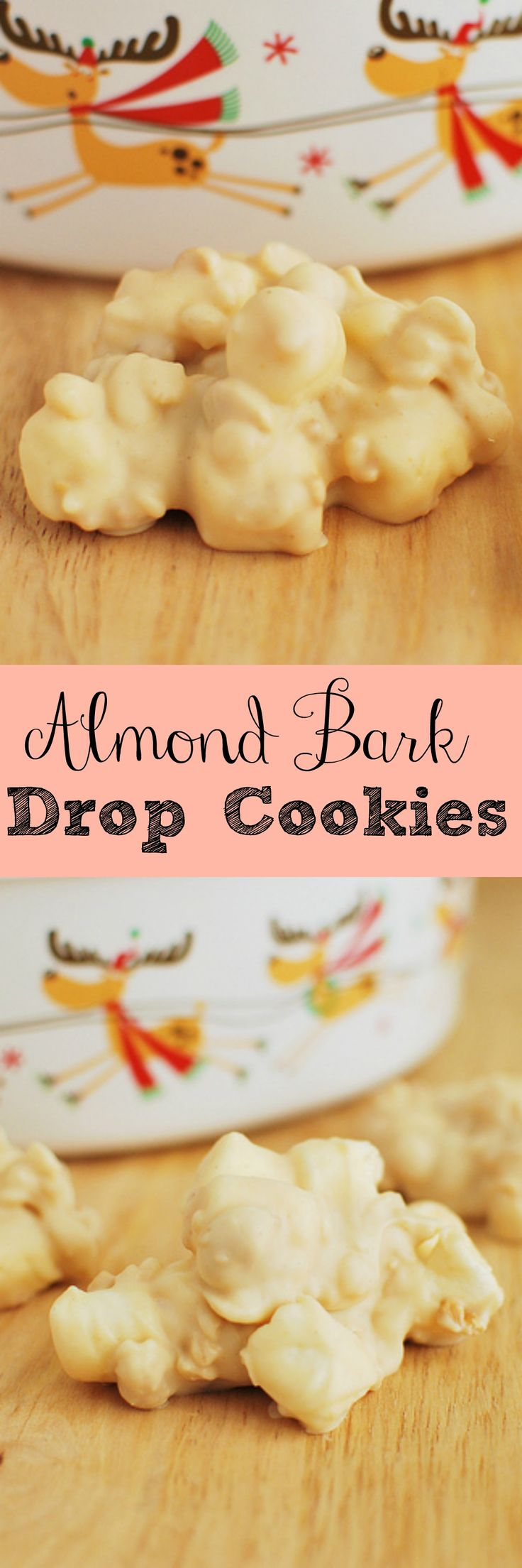 Almond Bark Drop Cookies - my favorite Christmas cookies recipe! Peanuts, Rice Krispies, and marshmallows coated in white chocolate and peanut butter!