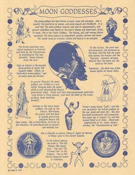"Moon Goddesses Poster with history and multiple cultures definitions of the Goddess. Quote from poster. "" The Moon-Goddess has been know in many times and cultures. She is usually the protector of wom"