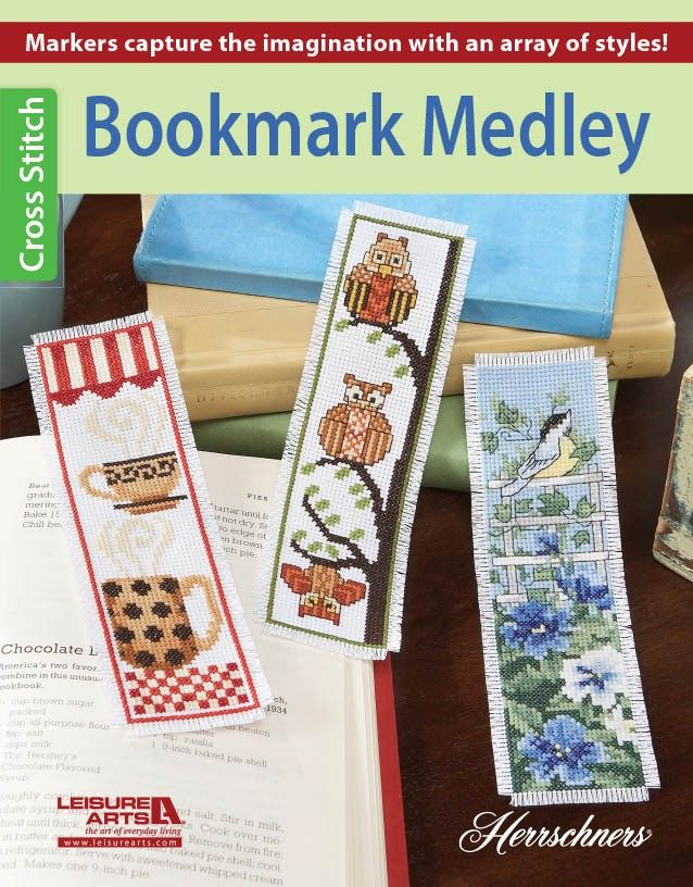 Bookmark Medley Herrschners - Bookmark Medley presents 14 charming cross stitch designs to mark your spot in your favorite books! From owls, chickadees, and cats to lighthouses, flowers, wine bottles, and coffee mugs, youíll ?nd just the right design in this collection. The designs are so quick to stitch that youíll have time to make some for yourself and all the book lovers in your life. Each design is stitched on 14-count fabric and ?nished with fringed edges.