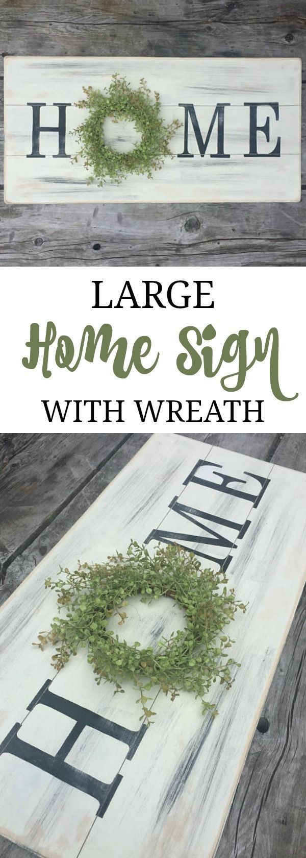 I love home signs with wreaths! The hard part is trying to decide which one I like best. This one is uniquely distressed to have a shiplap look. Large home sign with wreath, wooden sign, farmhouse sign, farmhouse wreath, pallet sign, rustic sign, fixer upper style, distressed sign #oybpinners #ad