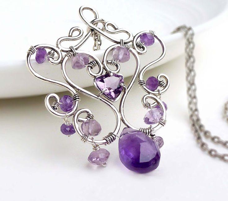 Wire wrap amethyst necklace sterling silver by CreativityJewellery