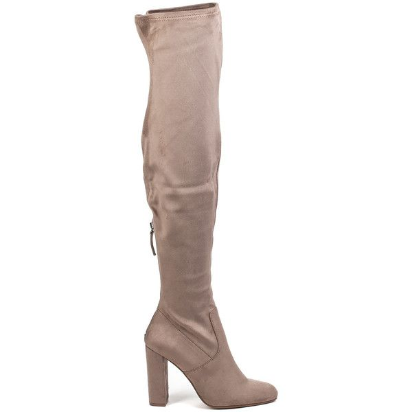 STEVE MADDEN Emotions Taupe Suede Otk Boot ($63) ❤ liked on Polyvore featuring shoes, boots, over-the-knee boots, taupe suede, over-the-knee high-heel boots, thigh high boots, over-the-knee suede boots, faux-suede boots and suede over the knee high heel boots