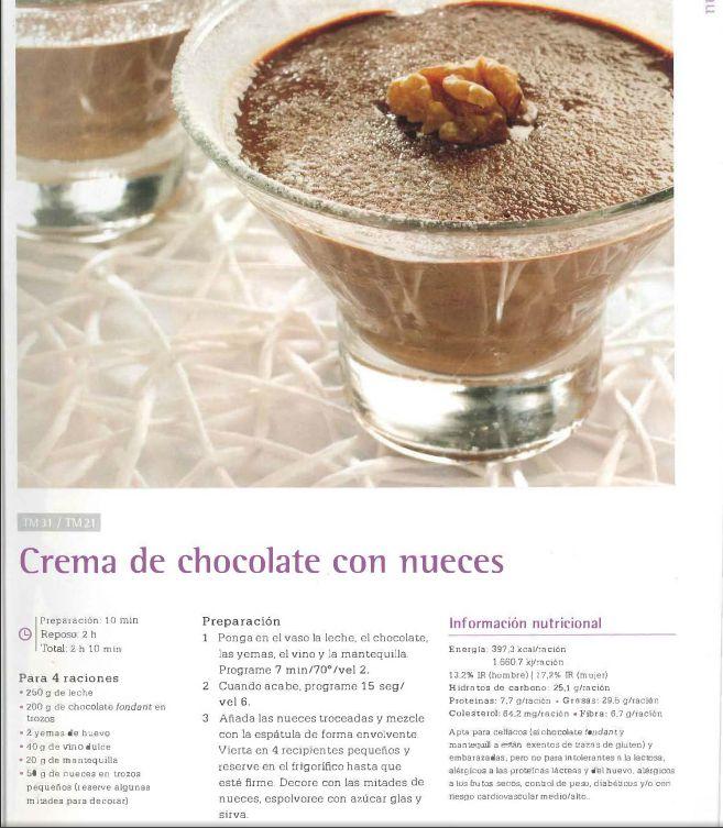 Crema de chocolate con nueces. Thermomix #thermomix #receta