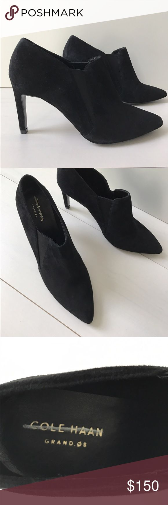 COLE HAAN Black suede high heel ankle boot Sexy, sophisticated and elegant and also good on your feet - Grand OS Cole Haan shoes use technical knowledge from athletic shoes and incorporate into a dress shoe. Never worn, excellent condition. Upper is suede including heel with side elastic for ease of slip on. Sz 8. Marking on inner label Cole Haan Shoes Heels