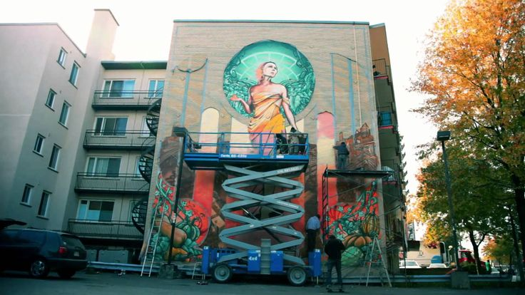"""A'shop """"Notre-Dame-de-Grâce/ Our Lady of Grace"""" Mural Creation."""
