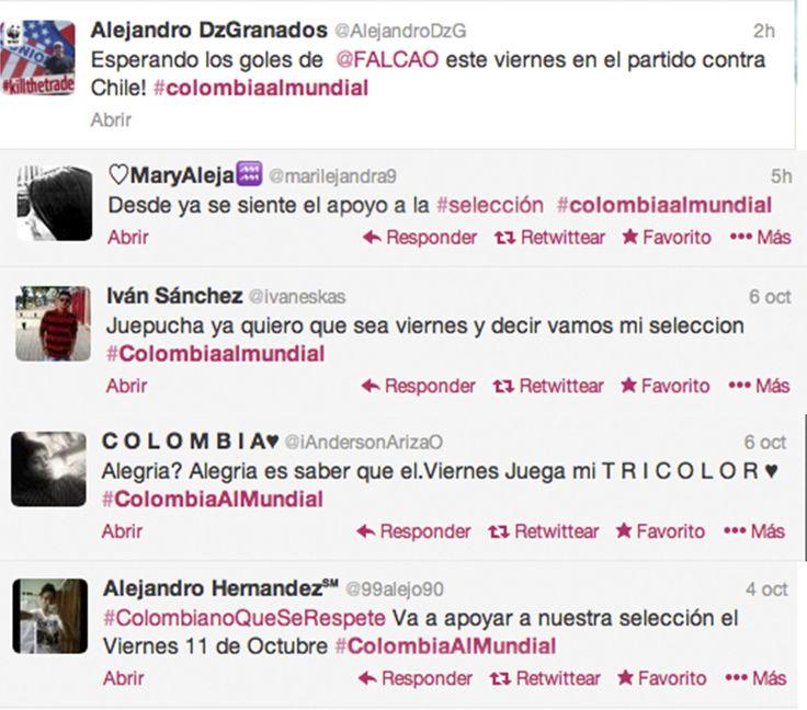 Y siguen los twitteros de Colombia, acompañando a su selección