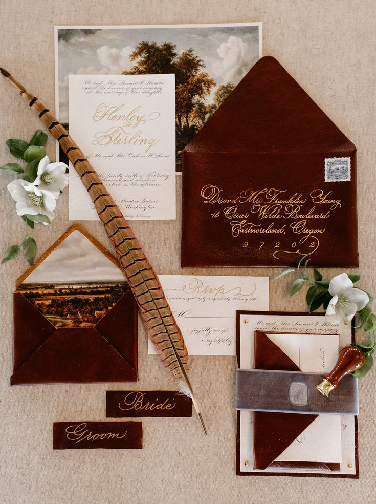 Luxe Leather, Gold, and Embossed Velvet wedding invitation suite by Bespoke Strokes Calligraphy