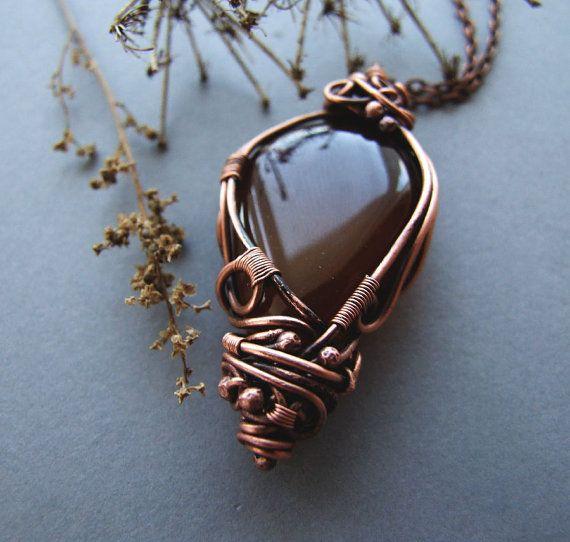 Boho Agate Necklace Rustic Brown Retro Agate Pendant by KicaBijoux