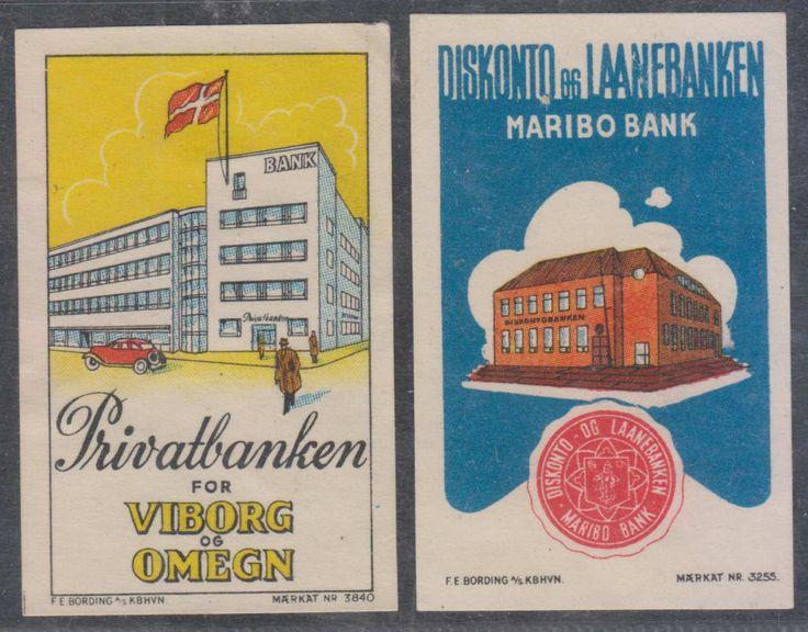 DENMARK CINDERELLA BANKS 2 COLOR VIGNETTES (MARIBO & VIBORG OG OMEGN)