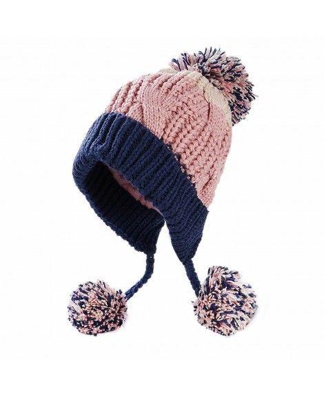 e7cd73d116713 Women Winter Thick Beanie Hat Ski Ear Flaps Caps Dual Layered - Pinknavy