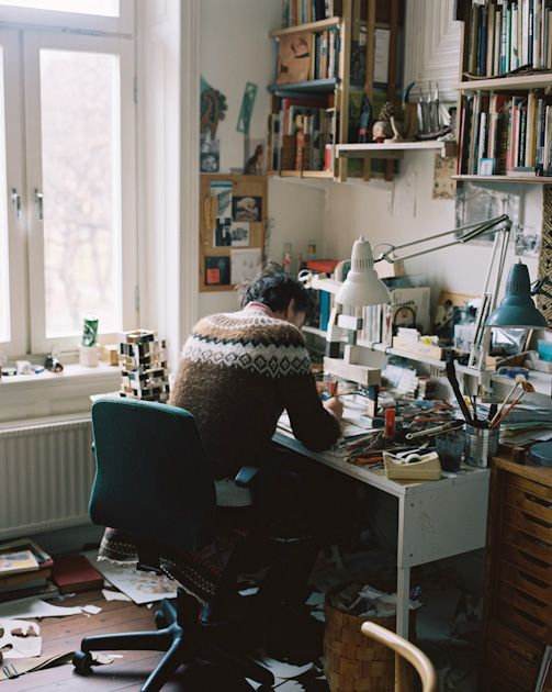 Artist Jockum Nordström in his private home studio on Södermalm, Stockholm. Photo Erik Wåhlström.