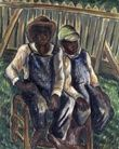 Malvin Gray Johnson (American, 1896-1934), Brothers, 1934, oil, 38 x 30 1/8 inches, Smithsonian American Art Museum, Washington, DC. (African American Art: Harlem Renaissance)