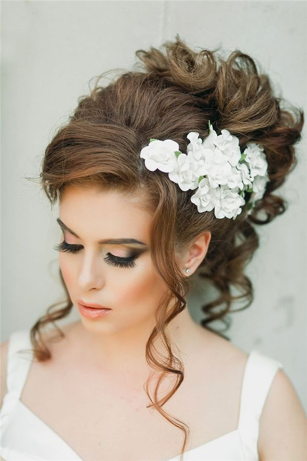 25 Romantic Long Wedding Hairstyles Using Flowers Everything About