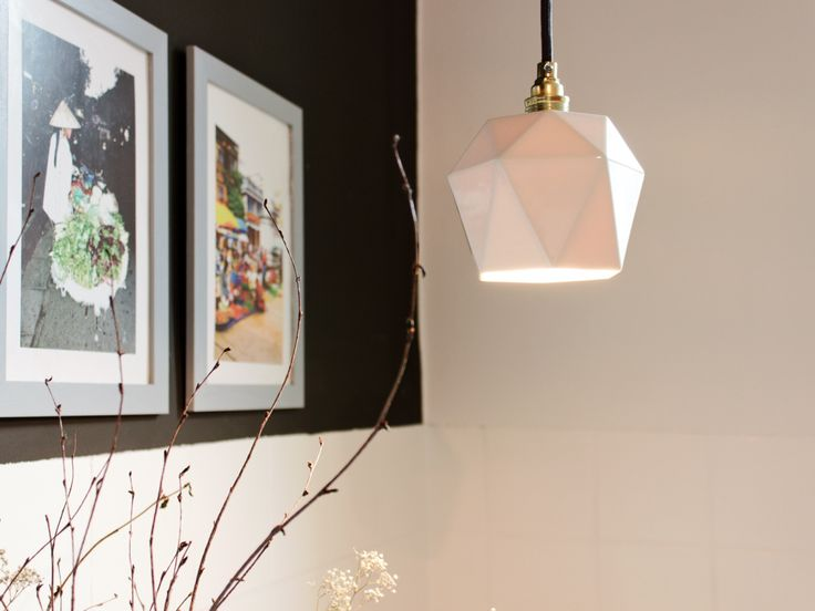 Small Triangulated Pendant Light In White Porcelain By GANTlights