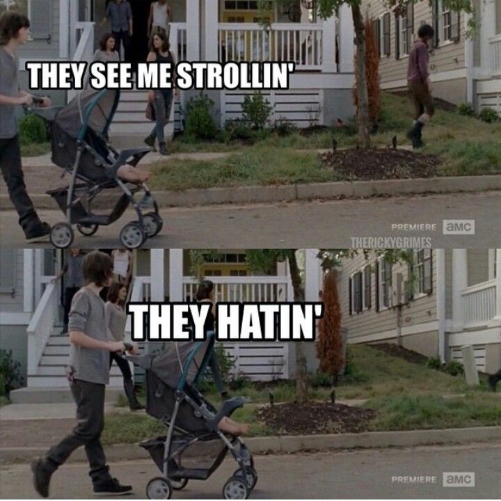 TWD Carl and Judith: They see me strollin', they hatin'