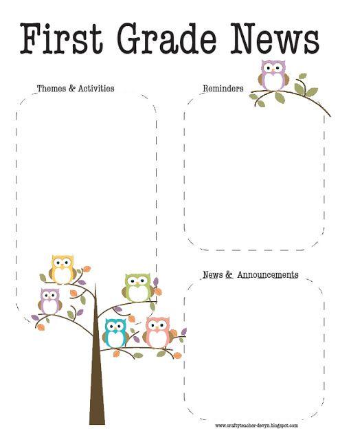 First Grade Owl Newsletter  Template